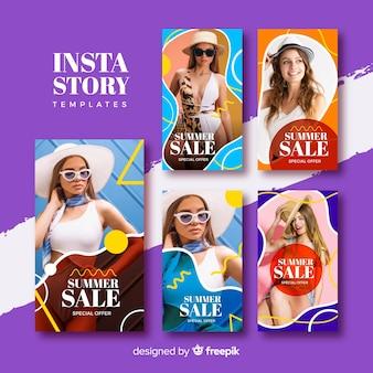 Set de plantillas de historias de instagram de rebajas de verano