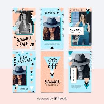 Set de plantillas de historias de instagram sobre compras veraniegas