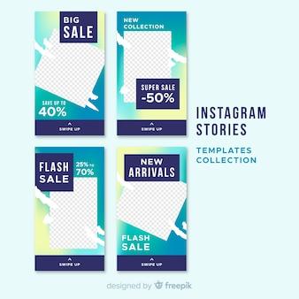 Set de plantillas de historias de instagram sobre rebajas