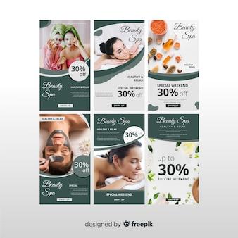 Set de plantillas de historias de instagram sobre spas