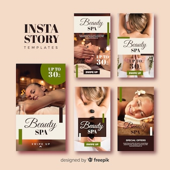 Set de plantillas de historias de instagram de spa