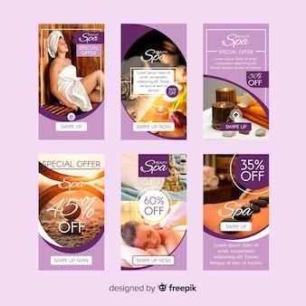 Set de plantillas de instagram stories de spa