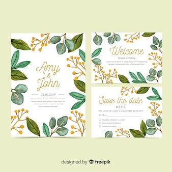 Set de plantillas de material de papelería de boda en acuarela