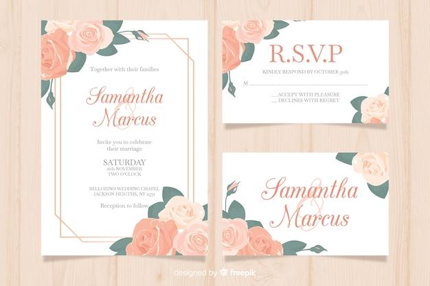 Set de plantillas de papeles y sobres para bodas