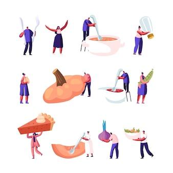 Set de platos de calabaza. ilustración plana de dibujos animados