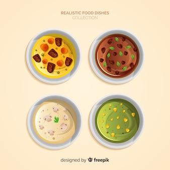 Set de platos de comida realista