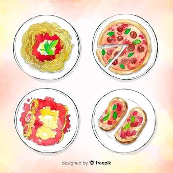 Set platos deliciosos dibujados a mano