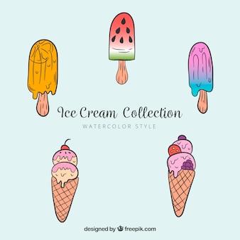 Set de polos y conos de helado sabrosos
