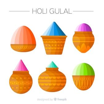 Set de polvo de colores del holi festival