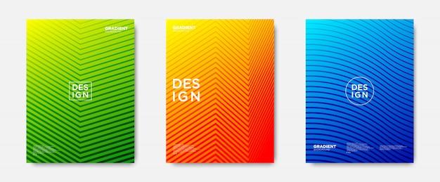 Set de portadas abstractas degradadas de líneas