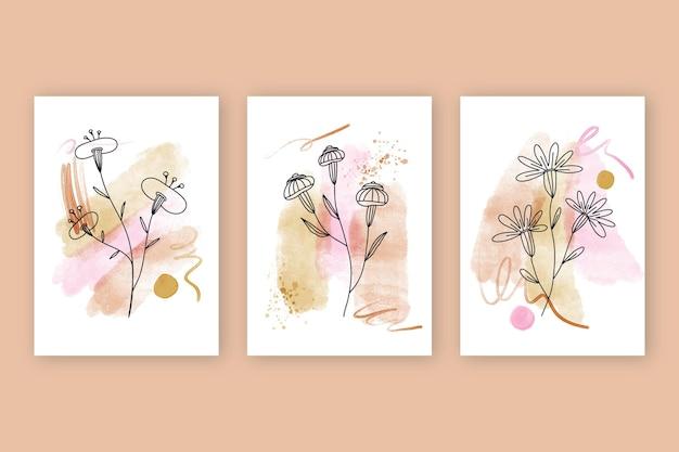 Set de portadas de acuarela dibujadas a mano
