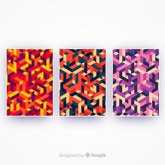 Set de portadas con estampado isométrico