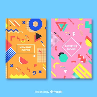 Set de portadas de estilo memphis