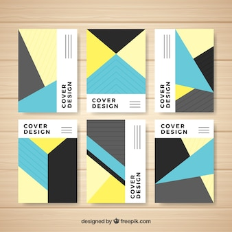 Set de portadas con formas geométricas