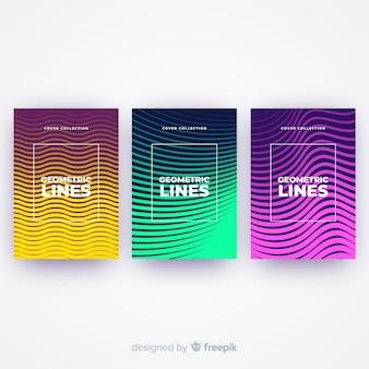 Set de portadas de líneas geométricas