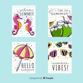 Set de postales veraniegas dibujadas