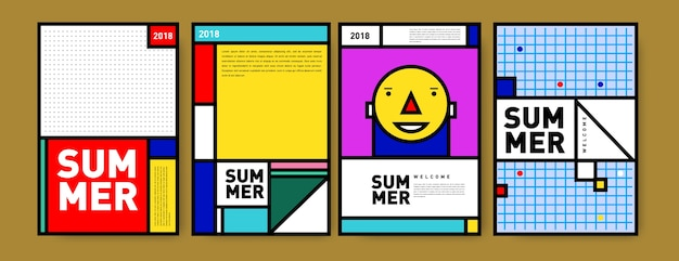 Set de póster minimalista de verano de memphis