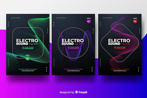 Set de posters de festival de música electrónica