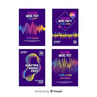 Set de posters de ondas musicales