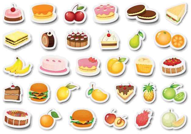 Set de postre y etiqueta de frutas.