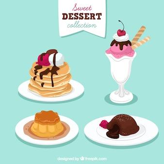 Set de postres dulces en estilo hecho a mano