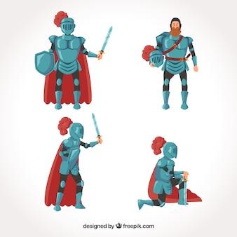Set de posturas de caballero de armadura