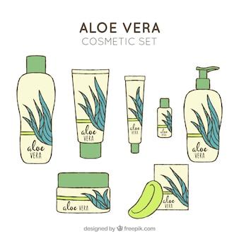 Set de productos de aloe vera dibujado a mano