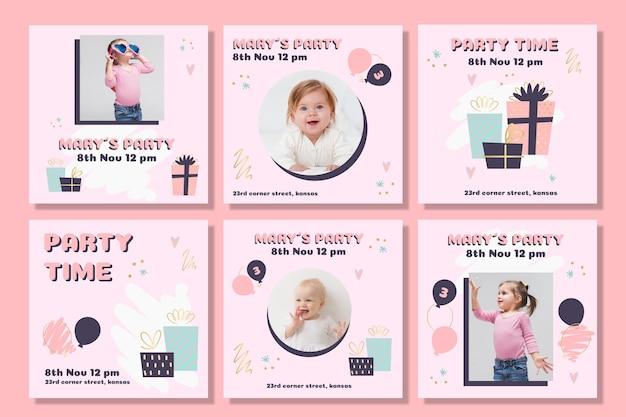 Set de publicaciones de instagram de cumpleaños para niños.