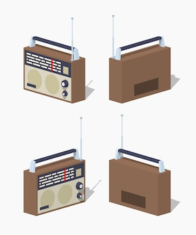 Set de radio isométrica retro lowpoly 3d