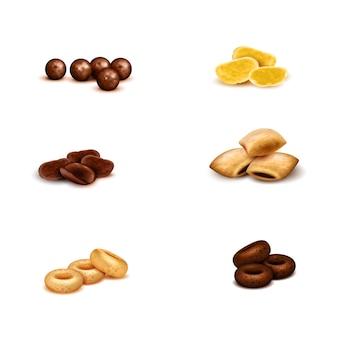 Set realista de cereales para el desayuno