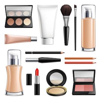 Set realista de cosméticos de maquillaje