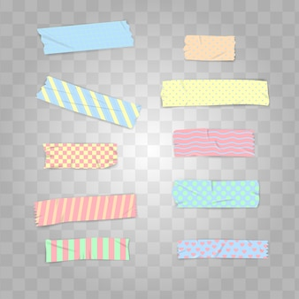 Set realistic pastel color washi tape