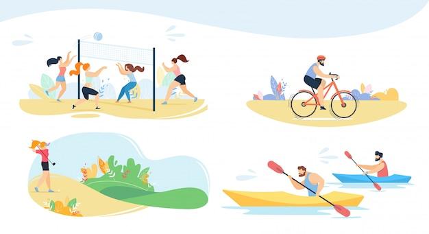 Set de recreación activa, deporte y juegos al aire libre