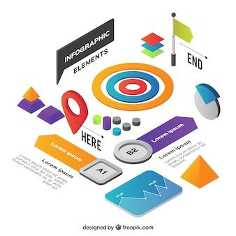 Set de recursos infográficos en estilo isométrico