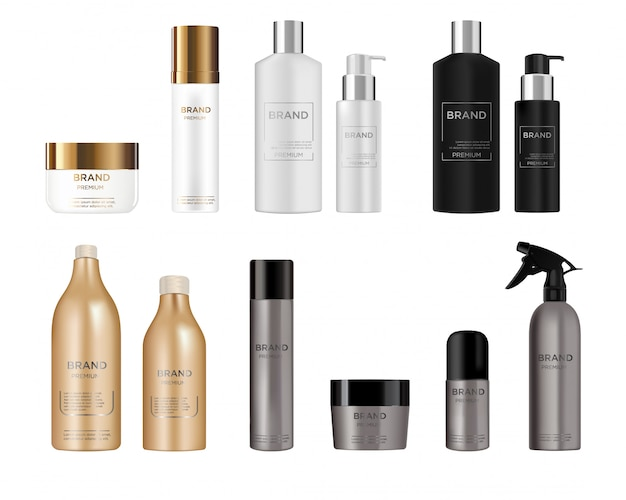 Set redondo de botellas de plástico blanco, negro, dorado, gris y plateado con dispensador
