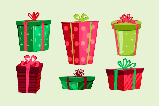Set de regalo de navidad dibujado a mano