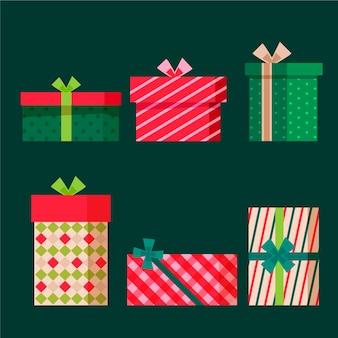 Set de regalo de navidad de diseño plano