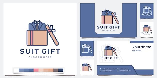 Set de regalo de traje de logo con plantilla de color