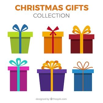Set de regalos de colores en diseño plano