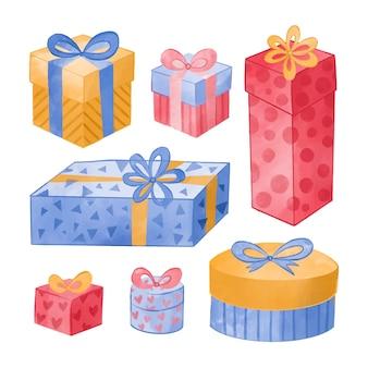 Set de regalos de navidad en acuarela