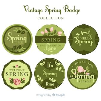 Set retro de emblemas de primavera