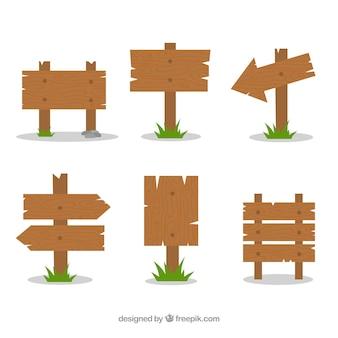 Set de seis carteles de madera en diseño plano