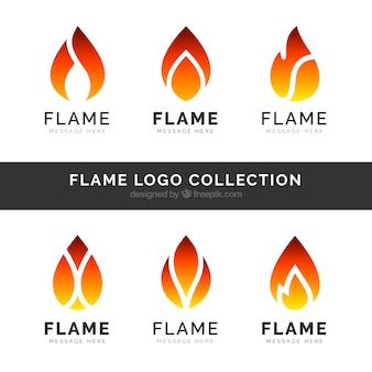 Set de seis logos de llamas en diseño plano