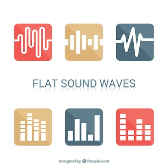 Set de seis ondas sonoras minimalistas