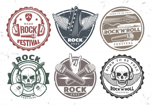Set de sellos de música rock retro