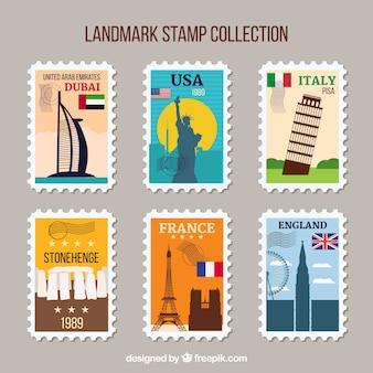 Set de sellos con puntos de referencia en estilo vintage