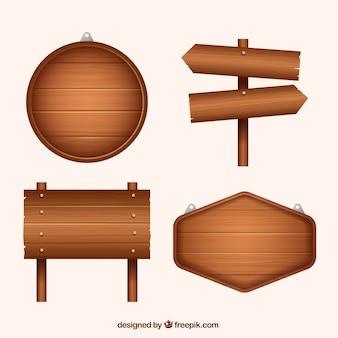 Set de señales de madera en diseño plano