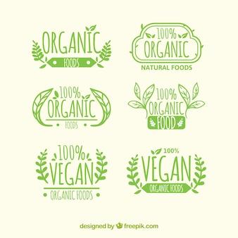 Set de sies etiquetas de alimentos orgánicos