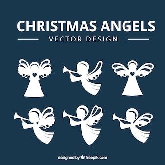 Set de siluetas de bonitos ángeles