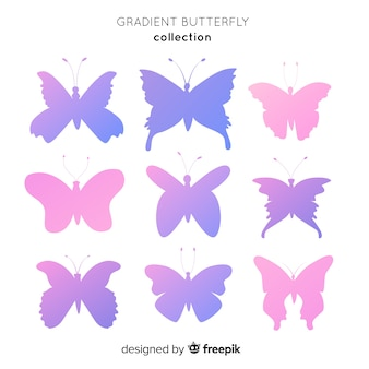 Set siluetas degradadas de mariposas volando